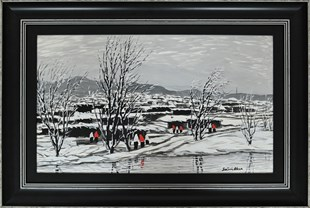 Sabri Akça - Black and White Passion in Anatolia (2009 - Oil Painting)